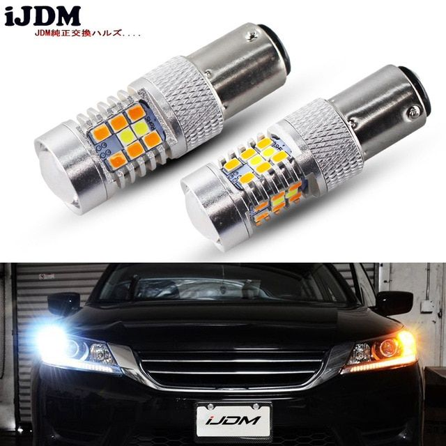 Ijdm High Power 28 Smd 1157 Dual Color Switchback Led Bulbs For Front Turn Signal 7 White 21 Amber Review Led Bulb Bulb Led