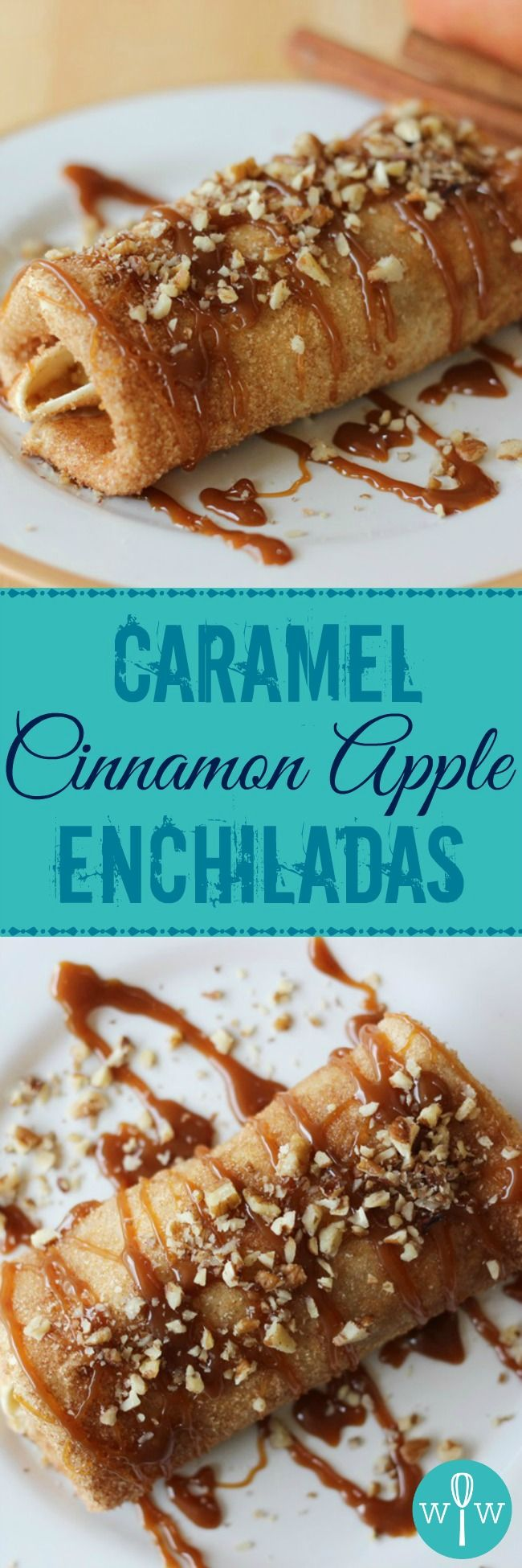 Caramel Cinnamon Apple Enchiladas - This crazy yummy recipe is an easy apple dessert that is simply divine! It's like apple pie in a wrap! | www.worthwhisking.com
