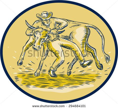 Etching engraving handmade style illustration of rodeo cowboy steer wrestling bull cow viewed from front set inside oval shape on isolated background.