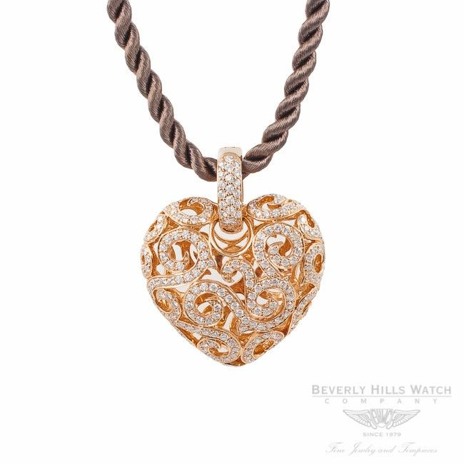 Designs by Naira Rose Gold 18K Heart Shaped Diamond Pendant Beverly Hills Watch Company Jewelry Store