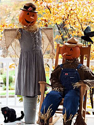 Scarecrows are standard outdoor Halloween decorations - learn how to make them and personalize them!