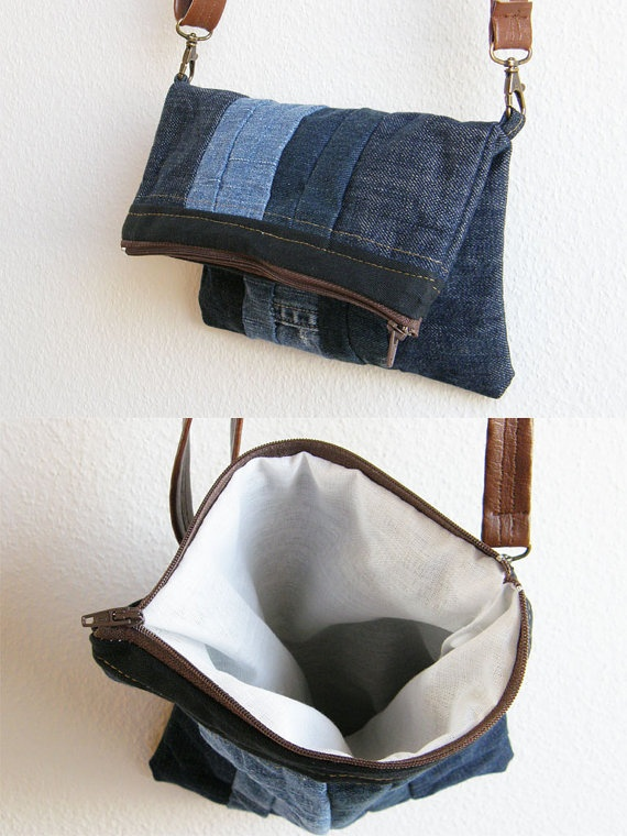 Casual Friday Small denim bag with brown by juanitatortilla, $39.00. Nice!