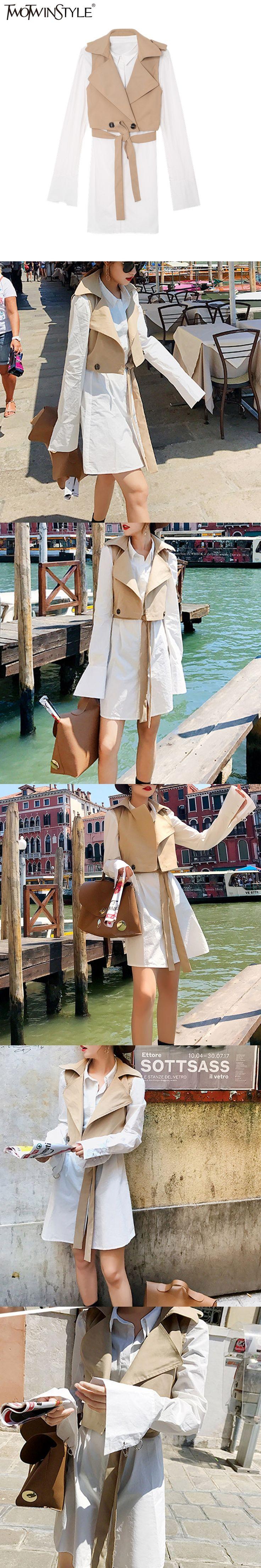 TWOTWINSTYLE 2017 Lace Up Autumn Costumes for Women Two Piece Set Short Vest Female Mini Dress Shirt Woman Suit Casual Clothes