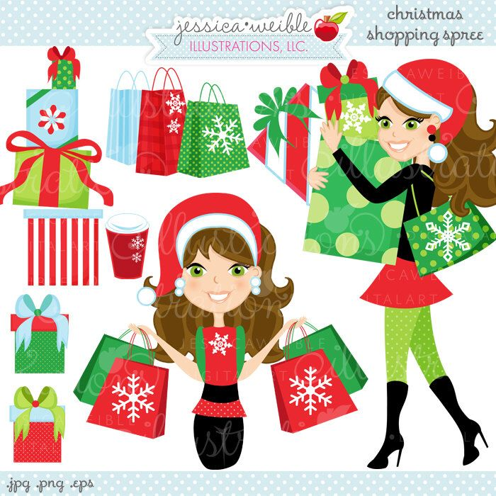 Christmas Shopping Spree Brunette Cute Digital Clipart, Commercial Use OK, Woman Shopping Clipart, Shopping Graphics by JWIllustrations on Etsy https://www.etsy.com/uk/listing/169569790/christmas-shopping-spree-brunette-cute