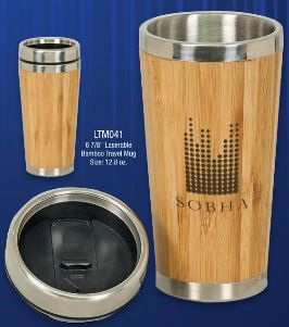 Personalized Bamboo coffee travel cup / mug. Laser engraved for a unique gift!