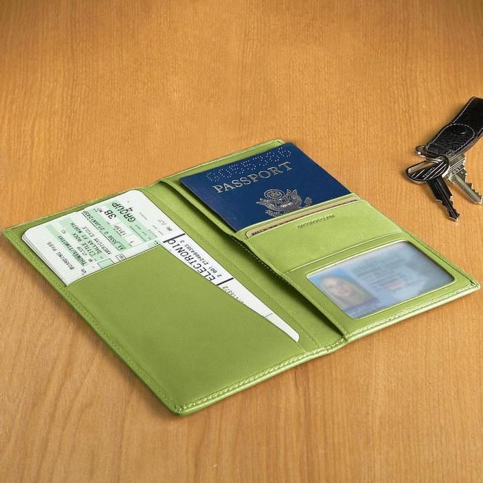 Brookstone Personalized Leather Passport Ticket Holder in Key Lime Green