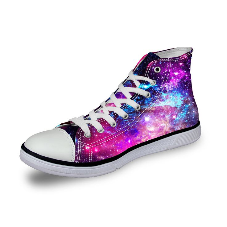 Galaxy High Top Canvas Shoes Women Fashion Flat Shoes Lace-up Sneakers For Girls #FORUDESIGNS #HiTopTrainerBoots