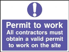 Permit to work safety sign