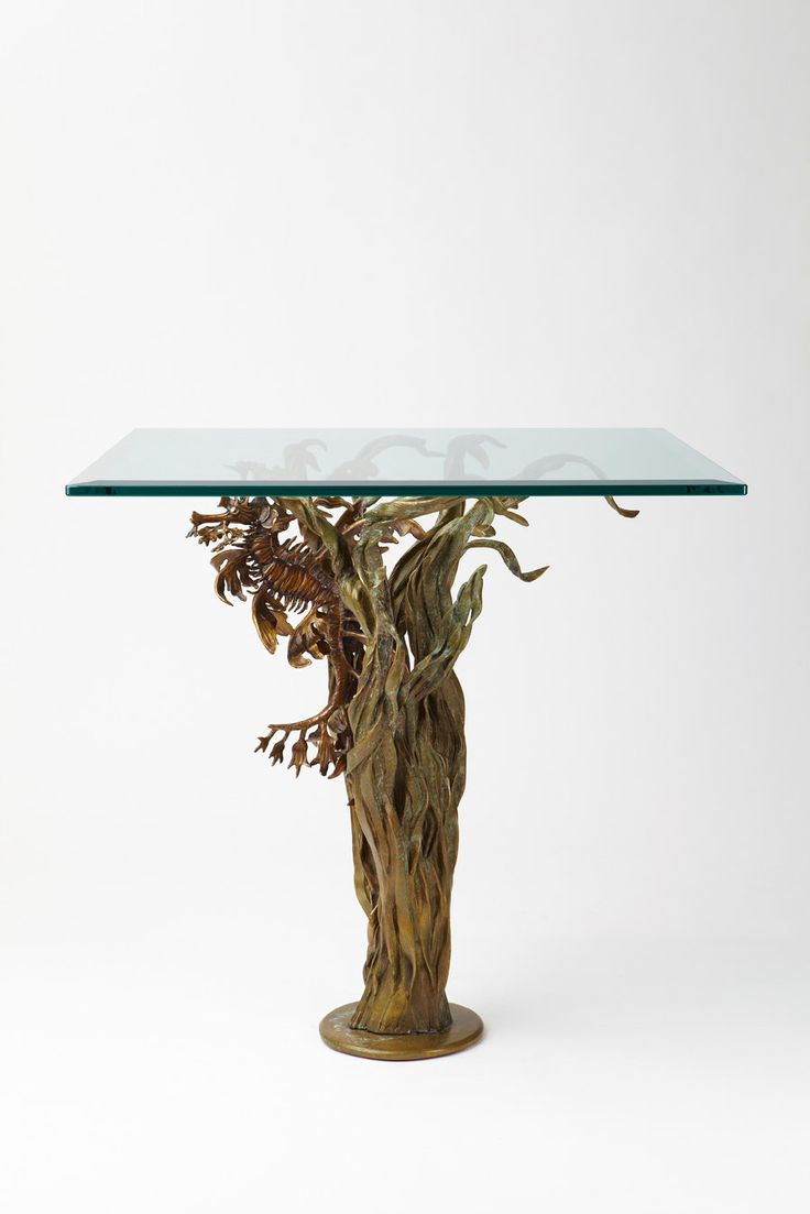 Bronze leafy sea dragon with seagrass end table by Kirk McGuire