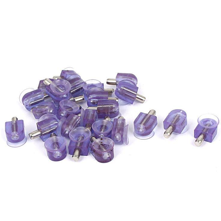 Furniture Glass Suction Cup Base Shelf Support Pin Bracket Holder 25 Pcs, Grey metal