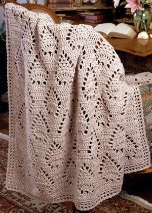 This pineapple motif afghan is a lace dream