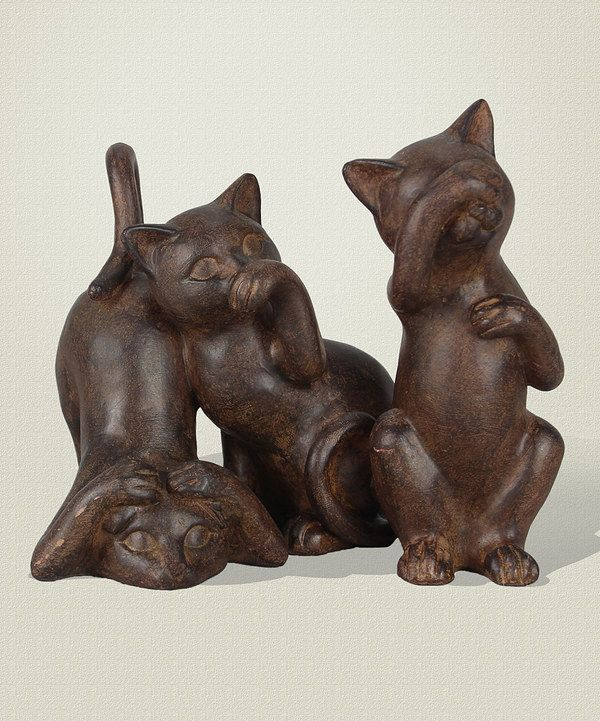 How sweet is this kitty can version Hear hear no evil, speak no evil See No Evil Cat Figurine on #zulily today!