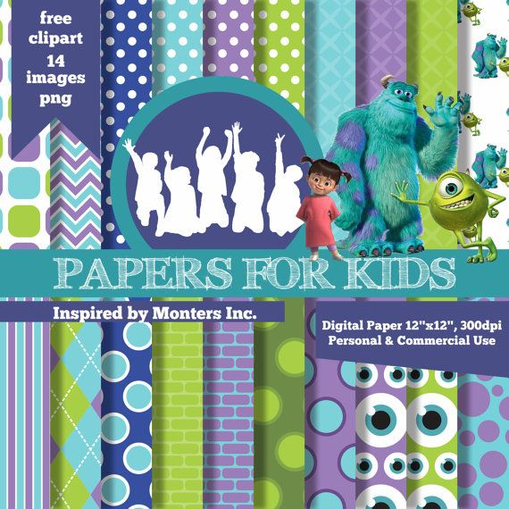 Digital Papers Monsters Inc Mike and Sulley Boo by PapersforKids