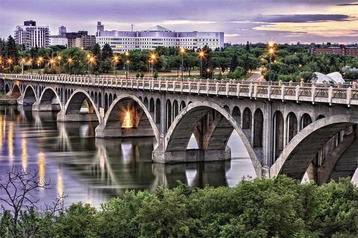 University Bridge spans the South Saskatchewan River. The bridge is also known as the 25th Street Bridge and is a major commuter route between the two halves of Saskatoon.
