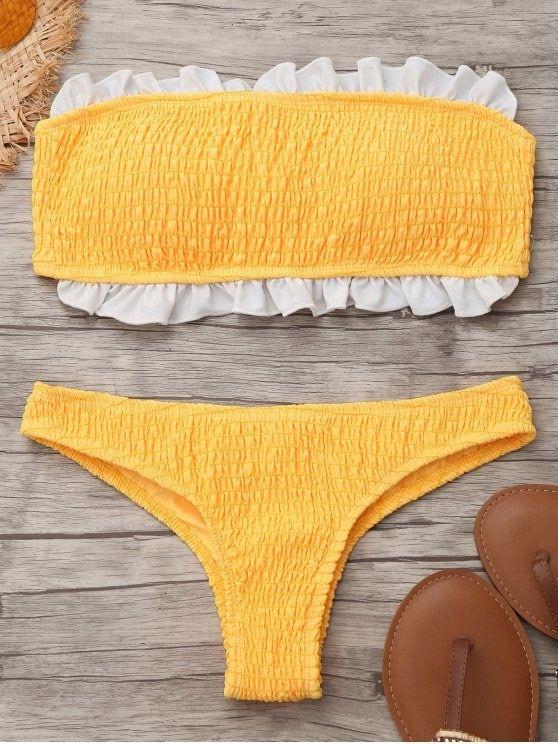 Up to 80% OFF! Smocked Ruffles Bandeau Bikini Top And Bottoms. #Zaful #swimwear Zaful, zaful bikinis, zaful dress, zaful swimwear, style, outfits,sweater, hoodies, women fashion, summer outfits, swimwear, bikinis, micro bikini, high waisted bikini, halter bikini, crochet bikini, one piece swimwear, tankini, bikini set, cover ups, bathing suit, swimsuits, summer fashion, summer outfits, Christmas, ugly Christmas, Thanksgiving, Gift, New Year Eve, New Year 2017. @zaful Extra 10% OFF…