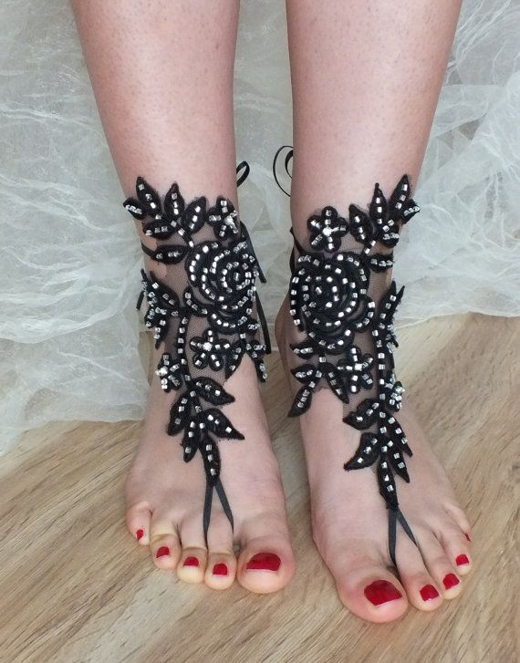 SANDALS // Black Rose, beach shoes, bridal sandals, wedding bridal, FREE SHIP barefoot sandles, black accessories, wedding shoes,, handmade
