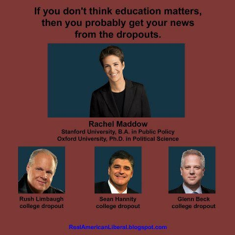 "All 3 ""men"" went to religious schools.  Limbaugh flunked every course and dropped out after almost 3 semesters. Hannity dropped out of 2  universities.  Beck took one course in theology, also was a suicidal junkie alcoholic.  They are the true heart and soul of the Rapepublican party. Congratulations."