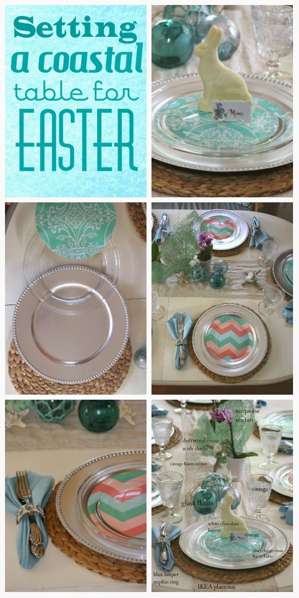 Easter table: DIY colorful dish inserts and a white chocolate bunny finish off the look!