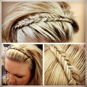 Fishtail headband: Braid Headband, Hairstyles, Hair Styles, Makeup, Head Band, Fishtail Braids, Fishtail Headband