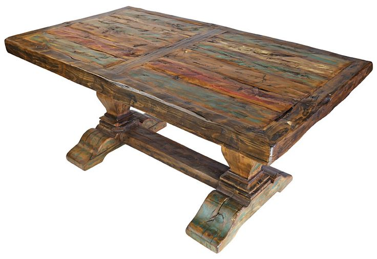 25 best ideas about pedestal dining table on pinterest for Rustic trestle dining table