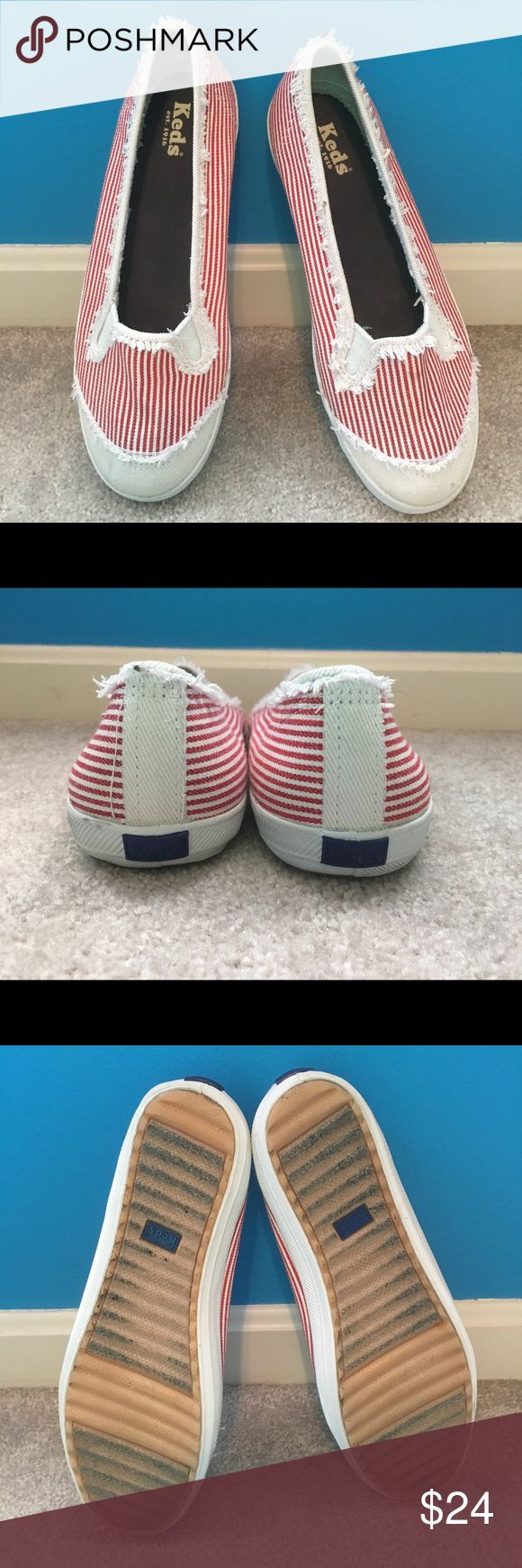 Red and white striped distressed looking slip ons! Keds slip on's that look great coming out of the washer and dryer! Be ready for spring and summer with these great shoes! I am listing them by the European size since they were bought in England. Keds Shoes Flats & Loafers