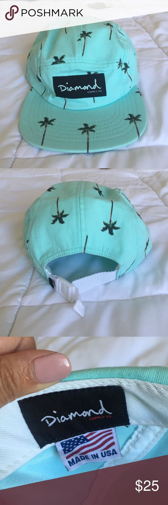 Diamond Supply Co. Palm Tree 5 panel hat Diamond Supply Co. limited edition Fairfax palm tree 5 panel hat in teal. Some scuff marks on the inside. Diamond Supply Co. Accessories Hats