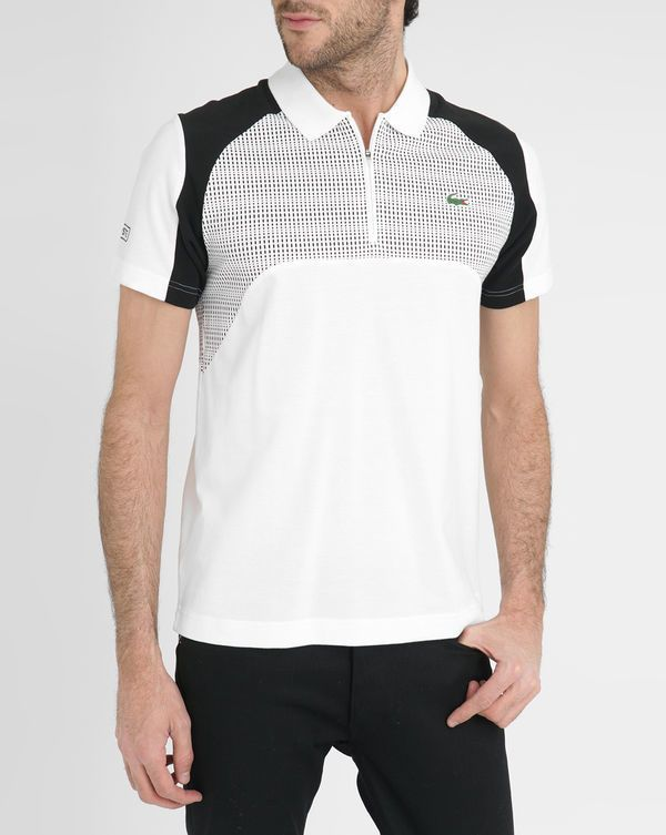 LACOSTE - Black and White Sport Contrasting Graphics Zipped Collar Short Sleeved Polo Shirt