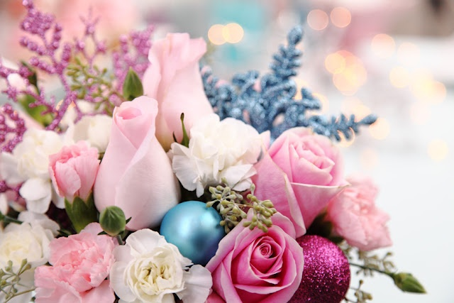 Pastel pink and blue arrangment