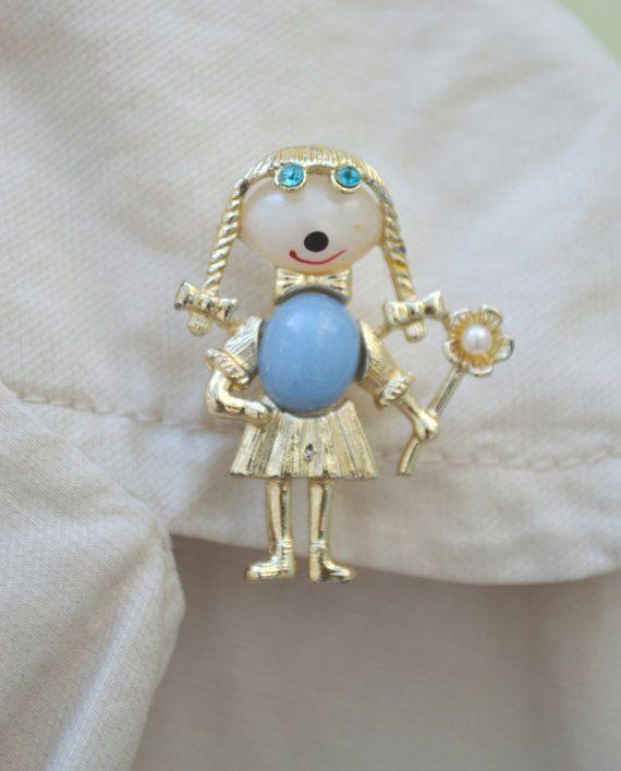 Vintage Gold tone Girl Blue Jelly Belly Brooch by talkOfThetown, $12.00