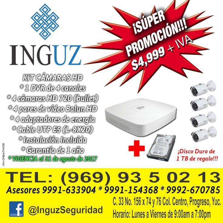 ¡Aproveche esta Súper promoción! y proteja su patrimonio Llame a INGUZ, los profesionales de la seguridad. Le asesoramos a los Teléfonos: Oficina 935-0213. Asesores Cels. 9991-633904 / 9991-154368 / 9992-670785.