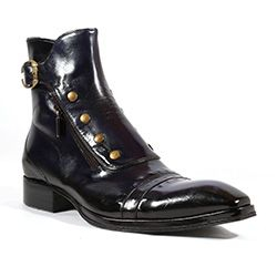 Jo Ghost Italian Mens Shoes Inglese Blu Navy Plato Leather Boots (JG2101)