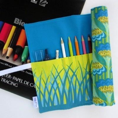 Pencil Roll, Art Organizer Roll-Up, Art Deco