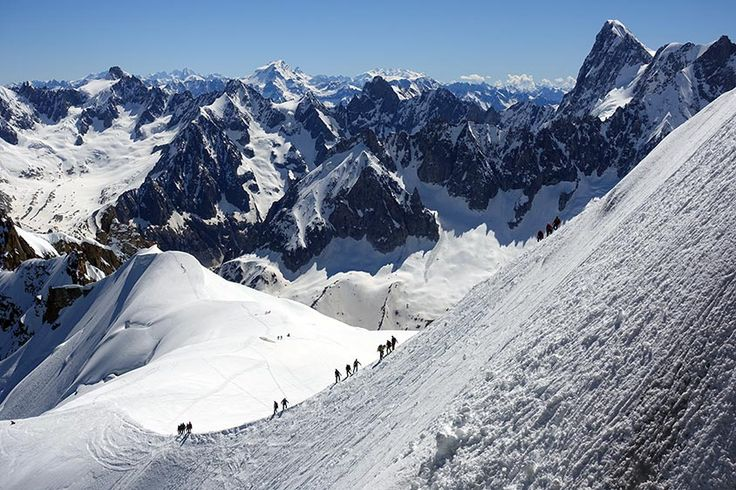 Aguille du midi. The Mont Blanc massif is a mountain range bordering France, Italy and Switzerland. The highest peak is Mont Blanc itself, reaching 4810 metres – Europes highest mountain. #travel #europe