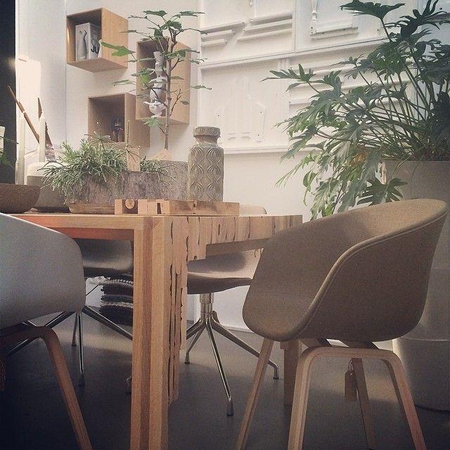 Met de ruime keus in bekleding en kleur kan je met de Hay stoeltjes alle kanten op. Op de foto de Oormerk Replex tafel met Hay stoeltjes. Heel veel gezellige planten in Serax potten en op de achtergrond de Houtmerk Dito kastjes. www.houtmerk.nl