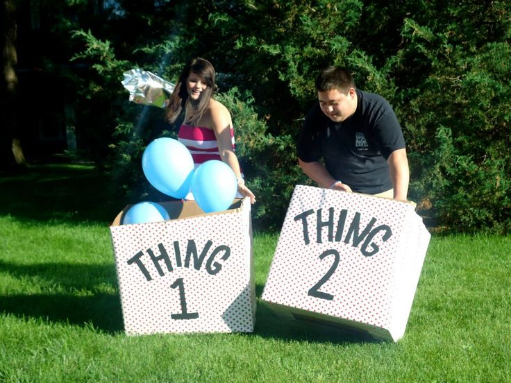 Our Twin's gender reveal party :) Using boxes and balloons!
