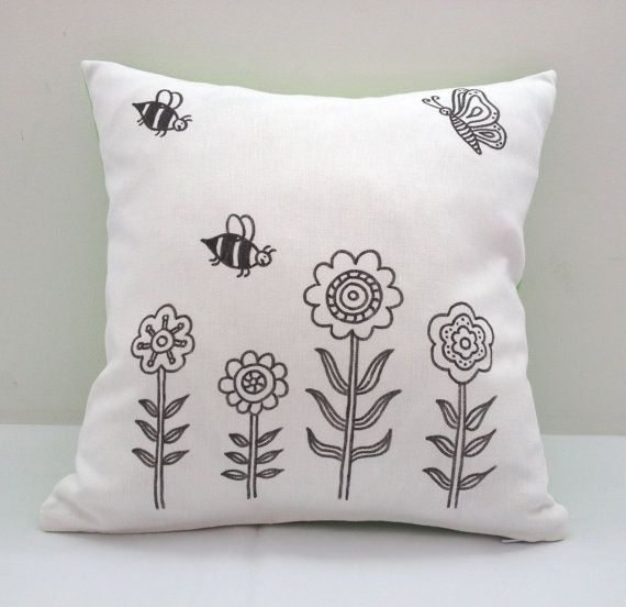 Colouring In Flower Design Cushion Cover | Kids Hand Drawn Black