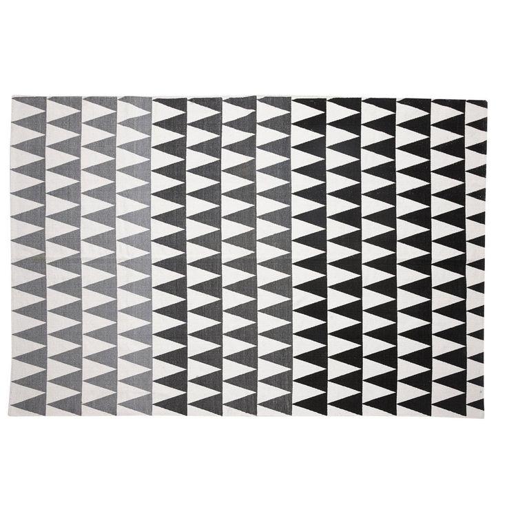 Hübsch vloerkleed print zwart/wit/grijs