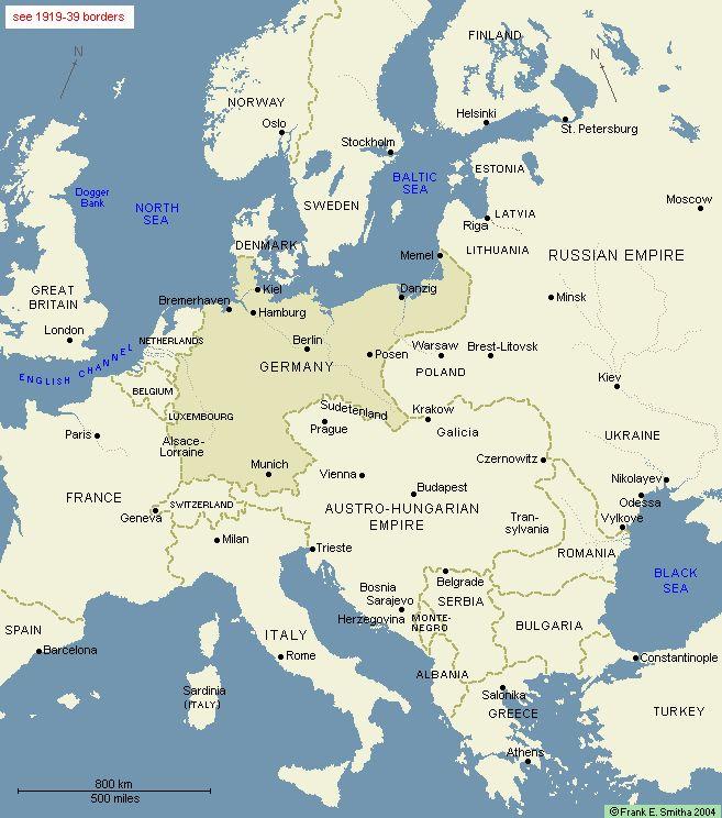 Map: Europe, 1914