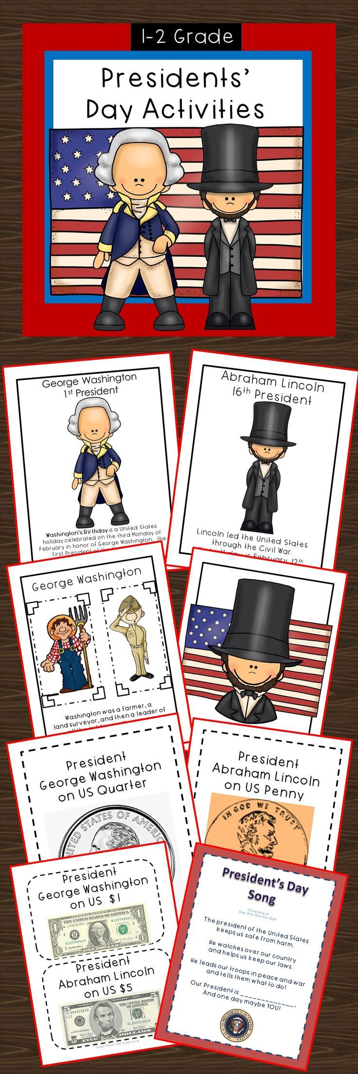 Presidents' Day Activities will help you in teaching your students about President's Day. There are pages that will help give you facts about two famous presidents. Also, your students will report on a president of their choice! You will find mini readers on George Washington and Abe Lincoln. Science, song, writing, word work, money, research, color by word, crafts!