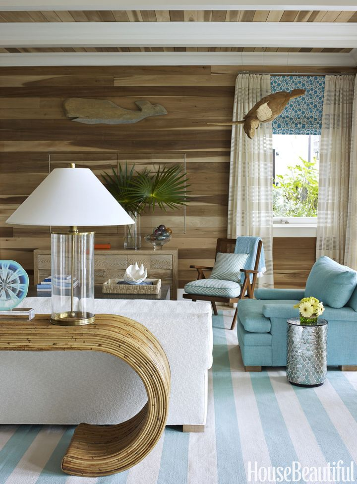 beach house family room with turquoise accents