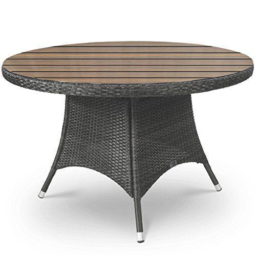 Oasis Rattan and Plaswood Round Garden Table 120cm Diameter