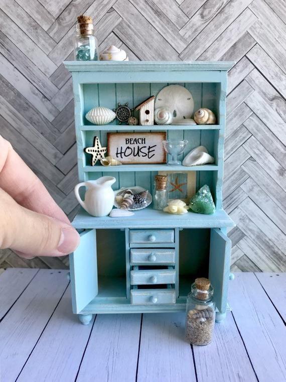 Hot Pink Hearts Dollhouse Miniature Artisan Beach Accessories Set