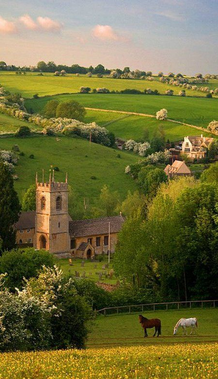 St. Andrews church in the cotswold village of Naunton, Gloucestershire, England. Beautiful.