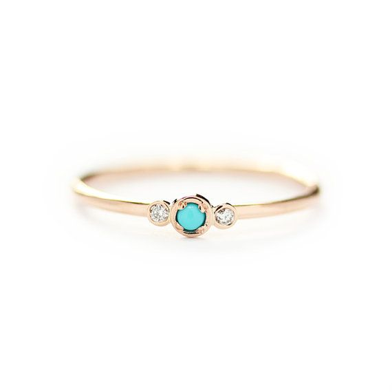 14k Solid Gold Natural Turquoise With Diamond by KHIMJEWELRY