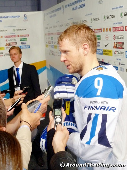 Hockey Finland Captain Mikko Koivu. Add Around The Rings on www.Twitter.com/AroundTheRings & www.Facebook.com/AroundTheRings for the latest info on the Olympics.