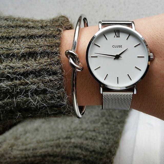 Cluse Watch - Minuit Mesh - Silver White