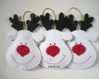 Snowman Felt Christmas Ornament ONE ORNAMENT por ynelcas en Etsy