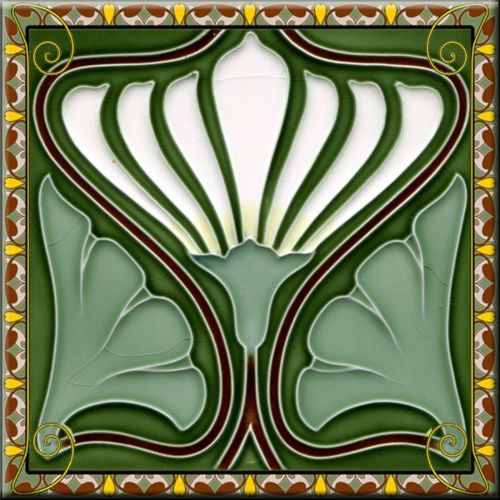 art nouveau ceramic decorative wall tile 425 x 425 inches 184 - Decorative Wall Tiles