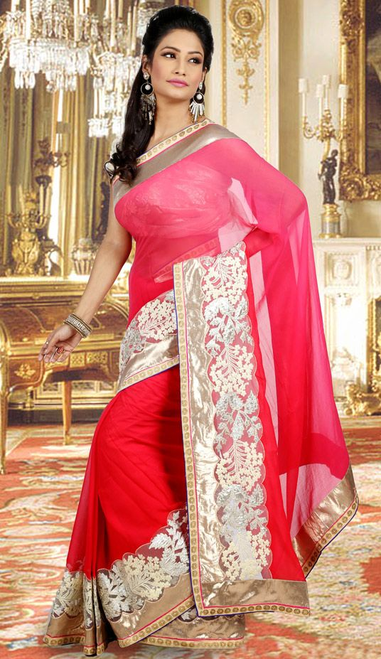 USD 160.75 Pink Faux Georgette Wedding Saree 48317