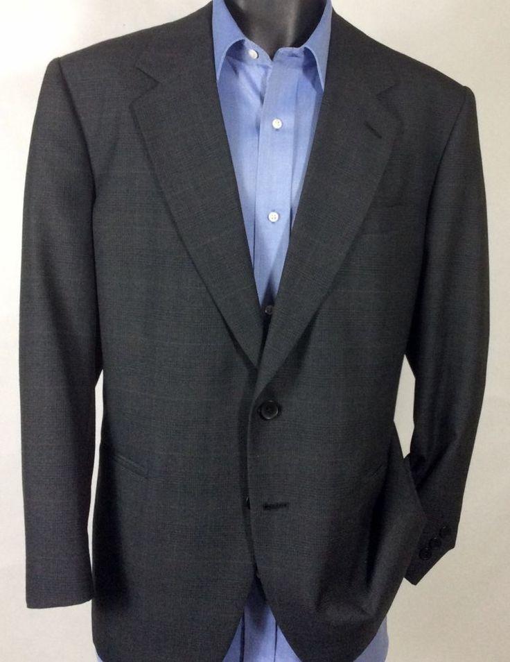 Mens Gray Plaid PIERRE CARDIN Suit Jacket | Wool 2 Button Sport Coat 42R #PierreCardin #TwoButton